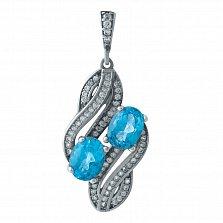 Серебряный подвес Айрин с голубым топазом и фианитами