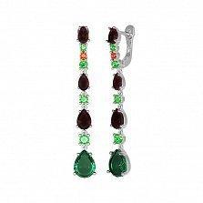 Серебряные серьги-подвески Вечный танец с зеленым кварцем, гранатами и фианитами