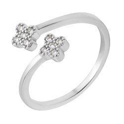 Серебряное разомкнутое кольцо с фианитами 000118412