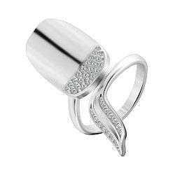 Серебряное кольцо-ноготь с цирконием 000028117