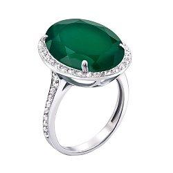 Серебряное кольцо с зеленым агатом и фианитами 000136235