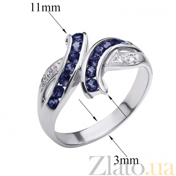 Кольцо из белого золота с сапфирами и бриллиантами Арника ZMX--RS-6116w_K