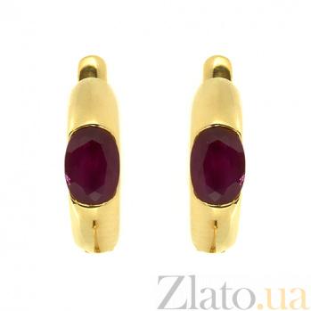Золотые серьги в желтом цвете с рубинами Зафира 000021817