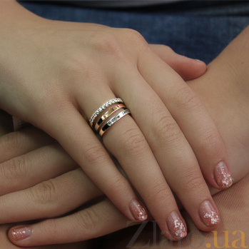 Серебряное кольцо Амур золотой вставкой и фианитами 000007839