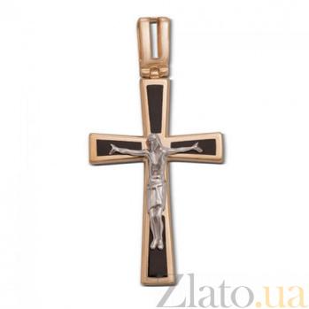 Золотой крестик Прощение с черной эмалью 3582/01/1/389