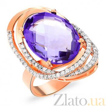 Золотое кольцо с фиолетовым кварцем Хлое SUF--152722