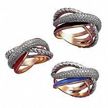 Кольцо в красном золоте Орабель с эмалью и фианитами в ассортименте