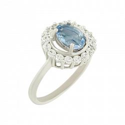 Серебряное кольцо с флюоритом и цирконием Октавия