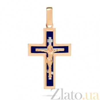 Золотой крестик Символ веры с синей эмалью SUF--541131нс