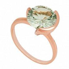 Золотое кольцо с зеленым аметистом Клэр