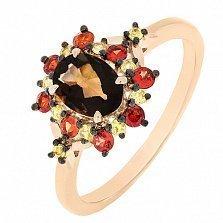 Золотое кольцо Луара с раухтопазом и цветными сапфирами