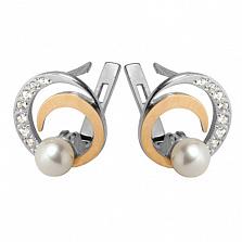 Серебряные серьги с золотыми вставками и жемчугом Фламенко