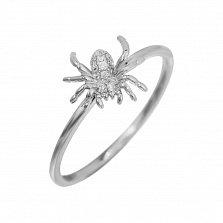 Кольцо из белого золота Паучок с бриллиантами