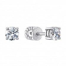 Серебряные серьги-пуссеты Минни с кристаллами Swarovski