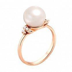 Золотое кольцо Ариэль в красном цвете с жемчужиной и фианитами