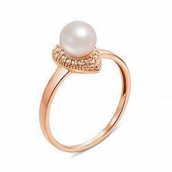 Кольцо из красного золота с жемчугом и фианитами 000135578