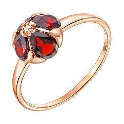Кольцо из красного золота с гранатами и фианитом 000137310