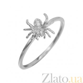 Кольцо из белого золота Паучок с бриллиантами 000080970