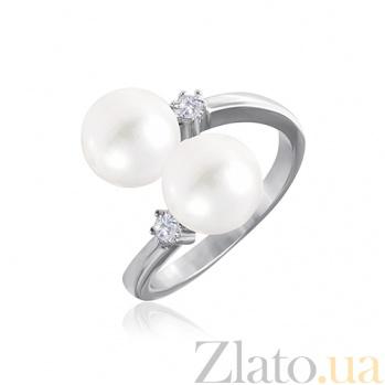 Кольцо из серебра с жемчугом и фианитами Иолана 000028131