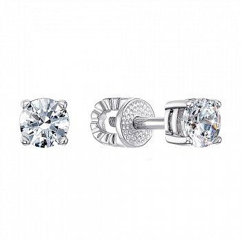 Серебряные серьги-пуссеты с цирконием Swarovski 000122197
