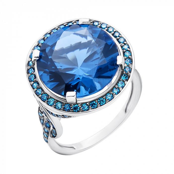 Серебряное кольцо Мадрит с узорами, голубым кварцем и фианитами 000079705