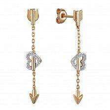 Серьги из золота с бриллиантами Стрелы Амура