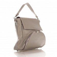Кожаная сумка на каждый день Genuine Leather 8973 серого цвета с накладным карманом на молнии
