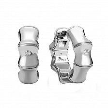 Серебряные серьги-конго Бамбуковые с бриллиантами, диам. 23мм