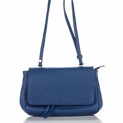 Кожаный клатч Genuine Leather 1504 синего цвета с плечевым ремнем и клапаном 000092287