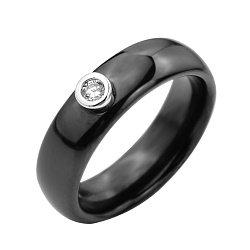 Кольцо из черной керамики и серебра с фианитом 000131764