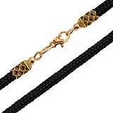 Тканевый шнурок Турин с серебряной позолоченной застежкой-лилией