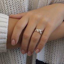 Серебряное родированное кольцо Галла с двойной шинкой и сердечком