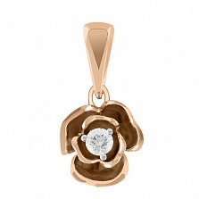 Золотая подвеска с бриллиантом Весенняя роза