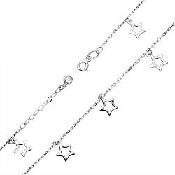 Золотой браслет на ногу Танец звёзд  в белом цвете с завальцованным фианитом
