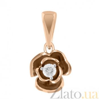 Золотая подвеска с бриллиантом Весенняя роза KBL--П187/крас/брил
