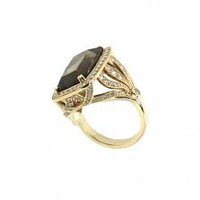 Золотое кольцо с бриллиантами и раухтопазом Madhu