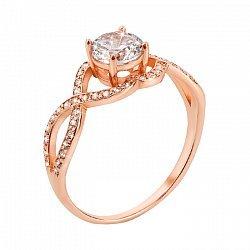 Помолвочное кольцо из красного золота с цирконием 000012767
