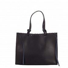Кожаная сумка на каждый день Genuine Leather 8038 черного цвета с удлиненными ручками