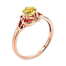 Кольцо из красного золота с цитрином 000137216