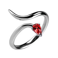 Серебряное кольцо Мудрость с красной синтетической шпинелью