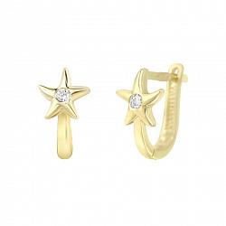 Золотые серьги Морские звезды в желтом цвете с завальцованными фианитами
