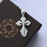 Серебряный крест Светлый покровитель с белой эмалью