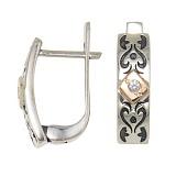 Серебряные сережки Бьянка со вставками золота и фианитами
