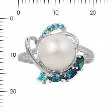 Серебряное кольцо Диляна с жемчугом, топазами и голубыми фианитами