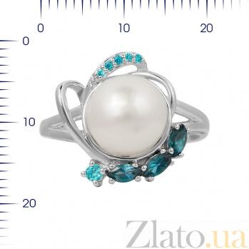 Серебряное кольцо Диляна с жемчугом, топазами и голубыми фианитами 000081607
