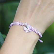 Детский плетеный браслет Фиолетовый мотылек с эмалью и фианитом, 10х20см