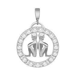 Серебряный подвес с кристаллами циркония Близнецы  000025317