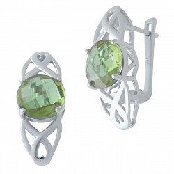 Серебряные серьги с султанитами 000128687