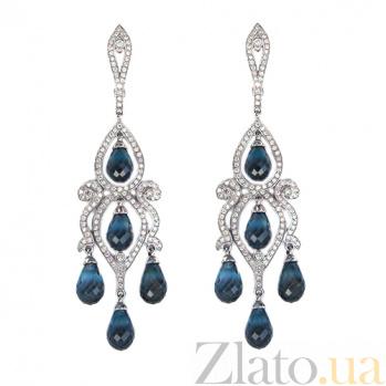 Золотые серьги с бриллиантами и Лондон топазами Countess ZMX--EDTl-00141w