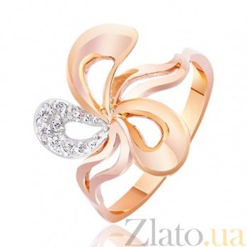 Золотое кольцо с цирконием Цветок Персефоны EDM--КД0397